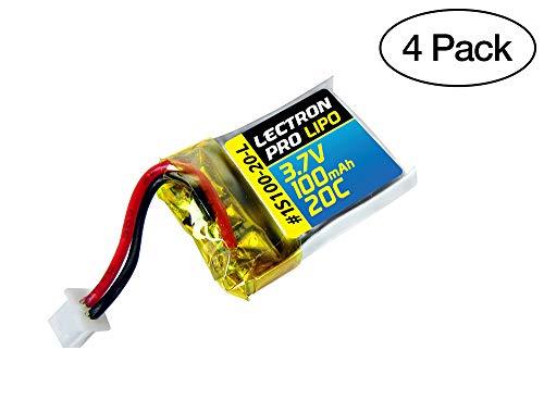 (4 Pack) Lectron Pro 3.7V 100mAh 20C Lipo Battery for Estes Proto X, Syncro X, and Hubsan Q4 Nano Quadcopter