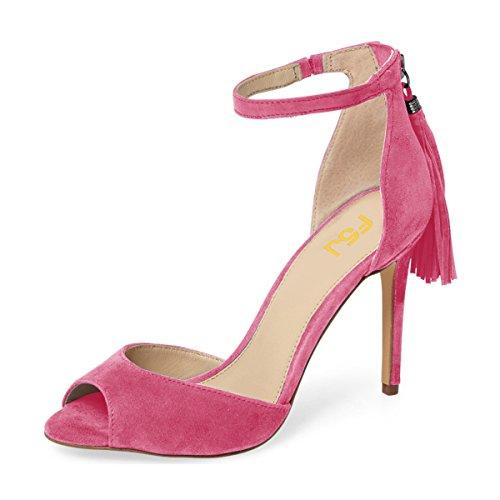 Kompani Kvinnor Peep Toe Ankelbandet Klackar Sandaler Stilett Chic Fransar Part Dorsay Skor Storlek 4-15 Oss Magenta