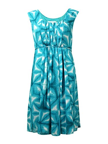 Calvin Klein Pleated Neckline Dress - Calvin Klein Womens Printed Pleated Casual Dress Green 12