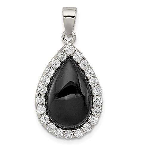 (925 Sterling Silver Cubic Zirconia Cz Black Onyx Pendant Charm Necklace Fine Jewelry Gifts For Women For Her)