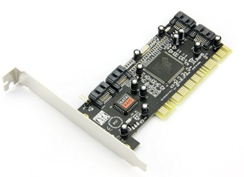 Maxmoral PCI SATA Internal Ports RAID Controller Card (4-Ports) SIL3114 Chipset with 3 Sata Cables