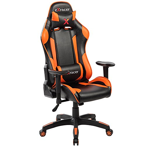 KERLAND Ergonomic Computer Gaming Chair with Adjustable Armrest and Backrest High Back Racing Style Executive Swivel Leather Office Chair With Lumbar Support and Headrest (Orange) For Sale