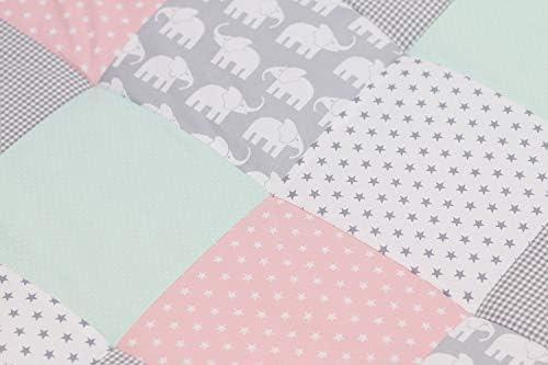 manta para beb/é de 100/x/100 cm; ideal como colcha para el cochecito; apta como alfombra de juegos Alfombra para gatear de ULLENBOOM /® con elefantes menta rosa
