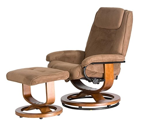 Relaxzen Deluxe Leisure Recliner Chair with 8-Motor Massage & Heat, Brown - Leather Recliner Footstool