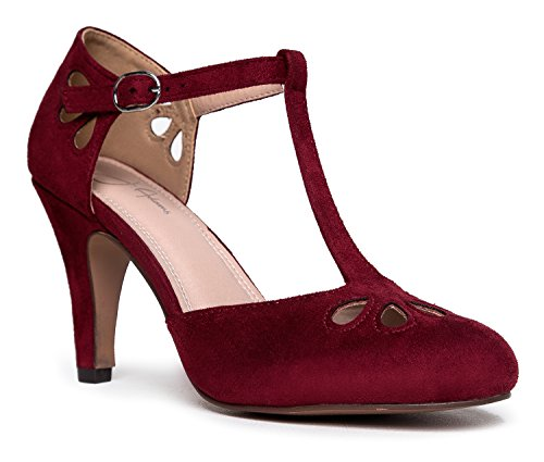 J. Adams Mary Jane Kitten Heels, Burgundy Suede, 8 B(M) US (Strap Mary Jane Single)