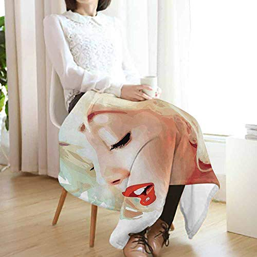 vanfan-home Girls Luxury Flannel Fleece Blanket,Blonde Hair Western Woman with Closed Eyes in Modern Blur Tone Effects Design Print All Season Light Weight Living Room/Bedroom (50