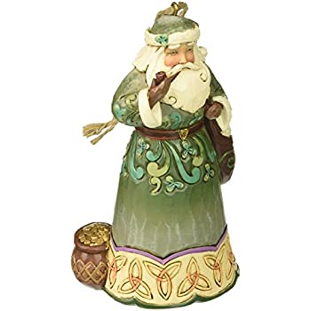 Jim Shore Heartwood Creek Irish Santa with Pipe Stone Resin Hanging Ornament, 4.75