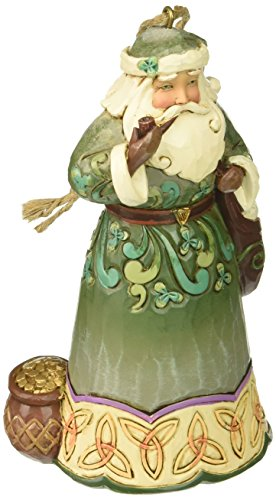 "Jim Shore Heartwood Creek Irish Santa with Pipe Stone Resin Hanging Ornament, 4.75"" ()"