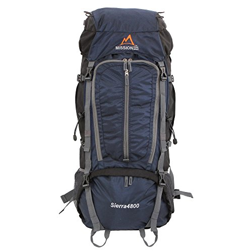 MISSION PEAK GEAR Sierra 4800 80L Internal Frame Hiking Backpack (Navy)