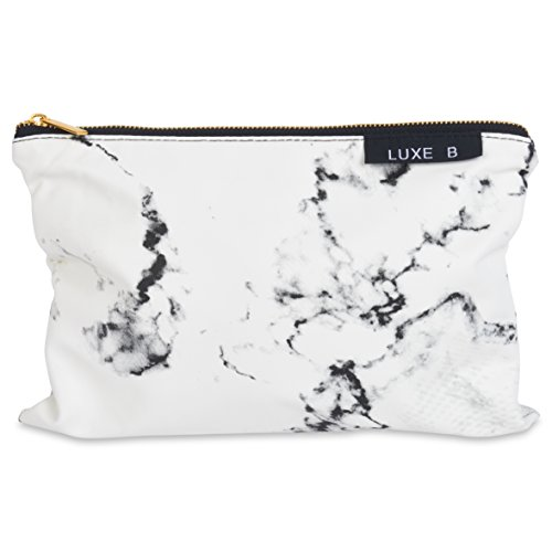 ec63bd3c7b16 Luxe B Marble Big Makeup Bag Gold Zipper Travel Size Large Cosmetic Cute Makeup  Case Train Bags Pouch Kit Brush Organizer Toiletry Travel Fashionable  Marble ...
