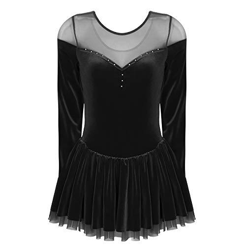 Alvivi Women Girls Long Sleeves Velvet Figure Ice Skating Dress Base Layer Ballet Dance Gym Dresses Black Medium