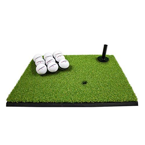 Rukket Golf Hitting Grass Mat   Realistic Fairway & Rough   Portable Driving, Chipping, Training Aids, Equipment for Residential Backyard & Indoor Practice with Rubber Tee & Balls (Mini-Turf Fairway)