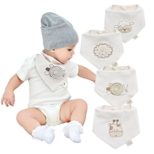 Neutral Organic Baby Bandana Drool Bibs for Boys and Girls 4 Pack-Funny Soft Cute Unisex Baby Teething Bibs and Embroidery Gender Neutral Bibs for Newborns, Infants and Toddlers ()
