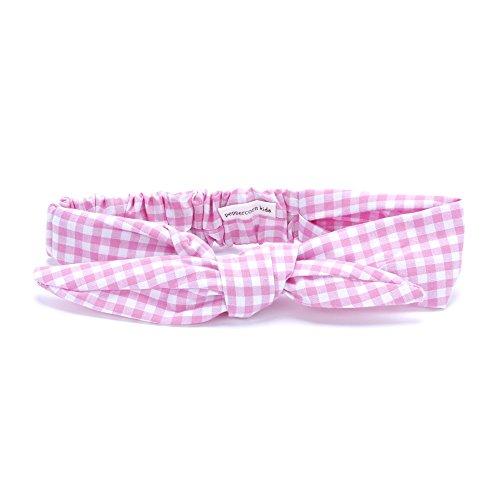 Peppercorn Kids Girls Bow Tie-Up Headwrap (Gingham - Pink Sherbet)