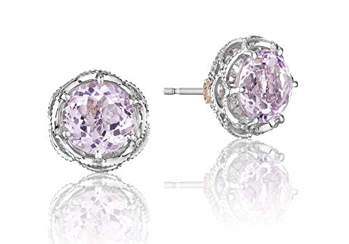Tacori SE10513 Lilac Blossoms Sterling Silver Crescent Crown Rose Amethyst Stud Earrings