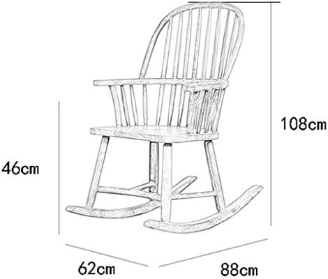 YYAPT-Y Solid Wood Single Rocking Chair, Retro Living Room Decorated With Adult Recliner 708-YY (Size : B)