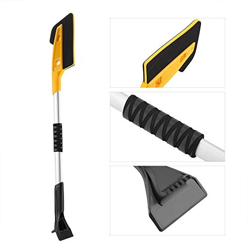 Price comparison product image Baulody 2in1 Cool Tool Snow Brush with Integrated Scraper and Foam Grip Handle 37 inch (Yellow)
