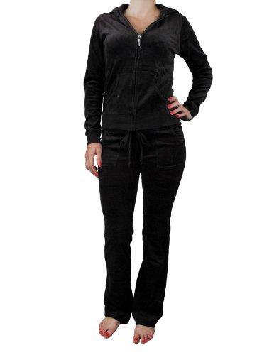 Zenana Women's 2 Piece Velour Track Suit Small Black