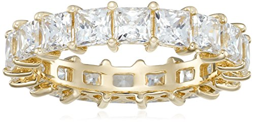 Yellow-Gold-Plated Sterling Silver Princess Cut All-Around Band Ring made with Swarovski Zirconia (5 cttw), Size 7