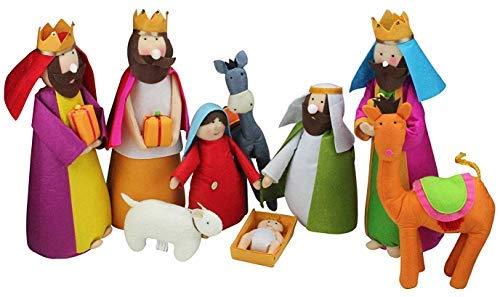 Large Fabric Christmas Nativity Set, 9 Pieces, 15.5 Inch Tall by Betsey Cavallo (Nativity Felt)