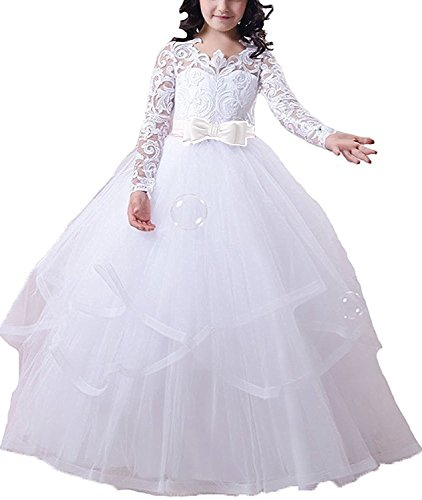 GU ZI YANG 2017 Baptism Dress Long Sleeves Flower Girls Dresses for Weddings 48