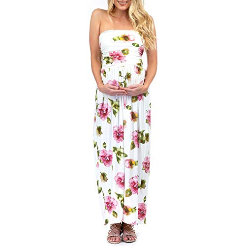 (Womens Strapless Ruched Maternity Dress with Pockets Offwhite)