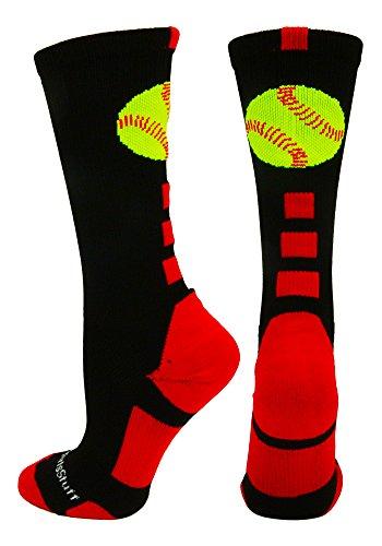 Softball Logo Crew Socks (Black/Red, Medium) from MadSportsStuff