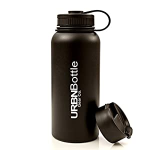 URBNBottle- Insulated Stainless Steel Water Bottle (32OZ Black), BPA Free, Sweat Free, Vacuum Sealed Double Wall Keeps Drinks Cold Or Hot For 12+ Hours
