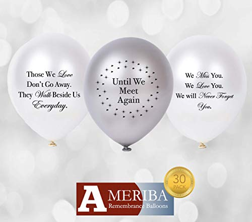 Biodegradable Remembrance Balloons: 30pc White & Silver Personalizable Funeral Balloons for Balloon Releases & Sympathy Gifts   Created/Sold by AMERIBA, a USA Company (Variety Pack, Black Writing)