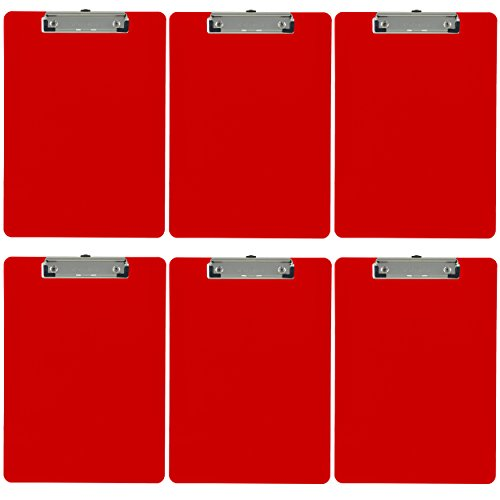 Trade Quest Plastic Clipboard Opaque Color Letter Size Low Profile Clip (Pack of 6) (Red)