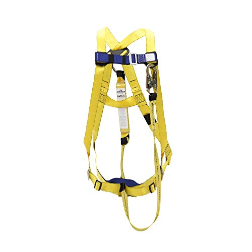 Osha Safety Harness - Peakworks Fall Protection V8252366 OSHA/ANSI Compliant Safety Harness and 6 ft. Lanyard Kit - Permanent Attachment, Universal Fit, Polyester Wedding, (1) Snap Hook, Yellow/Blue