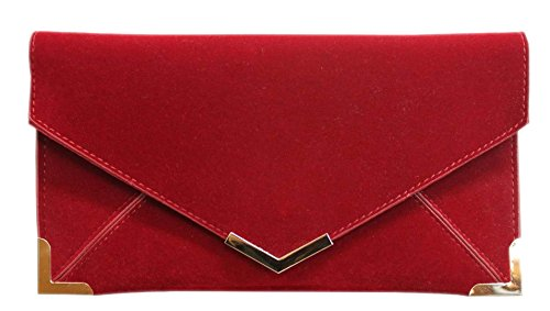 Corners HandBags Party Leather Girly Evening Gold Maroon Oversized Bag Bag Faux Clutch Suede Elegant Envelope v77Ydq