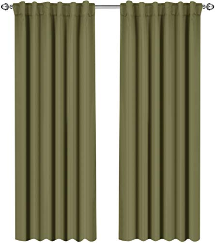 Utopia Bedding Blackout Room Darkening and Thermal Insulating Window Curtains/Panels/Drapes - 2 Panels Set - 7 Back Loops per Panel - 2 Tie Backs Included (Olive, 52 x 84) ()