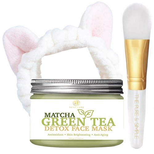 3PCS- Premium Matcha Green Tea Detox Face Mud Mask Antioxidant, Anti Aging, Acne Treatment, Oil Control, Reduce Pores, Wrinkles, Blemishes,Deep Cleaning, Moisturize, Natural Toner by The Pure & Simple