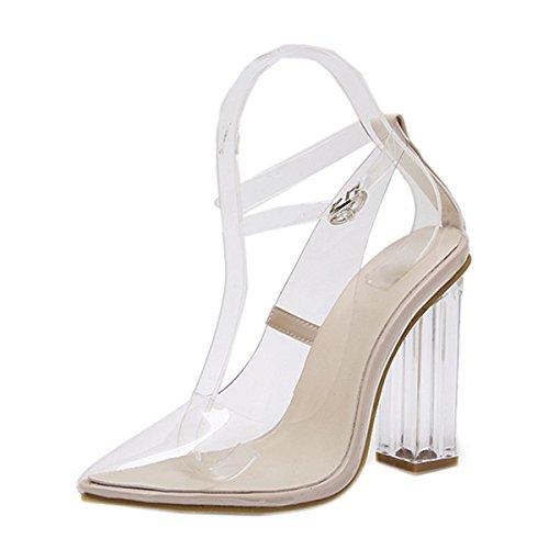 Anzhuangh High heels shoes woman NEW PVC Transparent Crystal women Pumps Square Heel Pointed Toe Autumn Ladies Shoes NL042 apricot - Las Shops High Mile Vegas