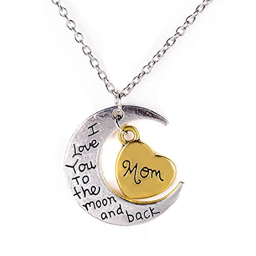 VWH 1pcs I Love You To The Moon And Back Family Pendant Necklace Choker Chain (mom)