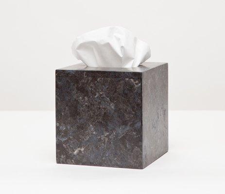 Luxor Collection Black Matte Marble Square Tissue Box - Black Marble Square