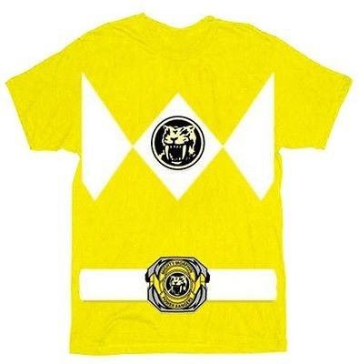 The Power Rangers Yellow Rangers Costume Adult T-shirt Tee,Small
