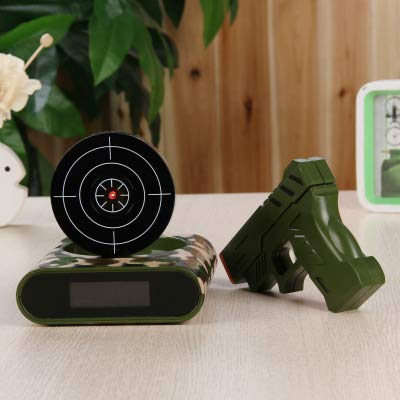 ATUSY Alarm Clocks|1Set Gun Alarm Clock/Shoot Alarm Clock/Gun O'Clock/Lock N Load Target Alarm Clock Office Gadgets