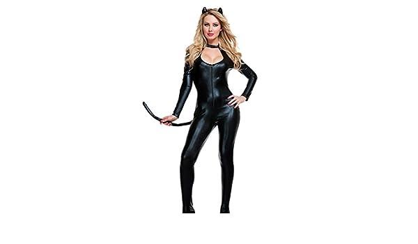 YOUJIA Mujer Disfraz de Catwoman Enterizo Mono Catsuit del ...