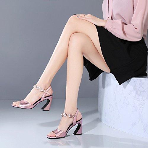 Jqdyl High Heels Weibliche Sandalen Sommer Thick High Heel Fischmaul Buckle  36|Rose Gold