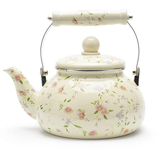 Enamel on Steel Tea Kettle, Porcelain Enameled Teapot, Halogen Induction Cooker Coffee Pot for Stovetop Retro Classic Design 2.5Qt Capacity