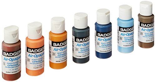 - Badger Air-Brush Company Air-Opaque Airbrush Ready Water Based Acrylic Paint, 1-Ounce Each, Set of 7