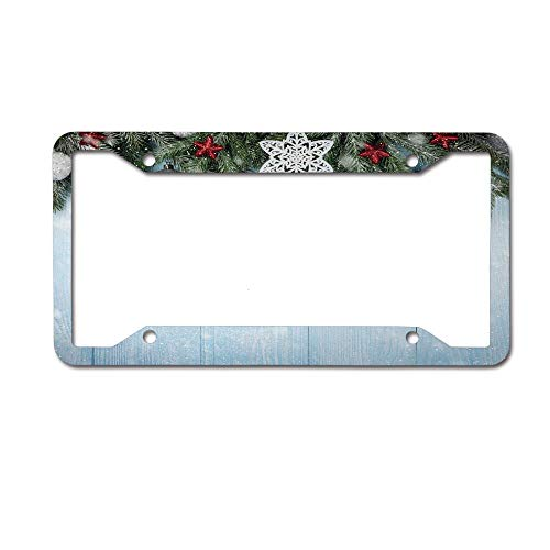 Dinzisalugg Custom Aluminum Metal License Plate Frame Tag Holder Cute,Coniferous Fir Tree with Ribbon Ball Ornaments and Oak Vertical Lines Display License Plate Frame 4 Holes and Screws