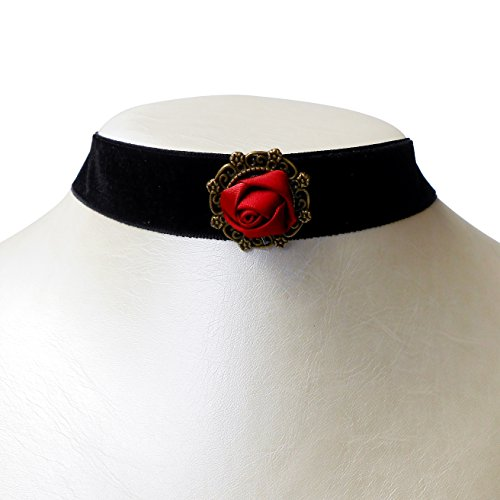 RareLove Retro Gothic Blace Velvet 20mm Choker Necklace with Red Rose Flower Charm