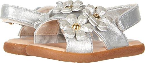 UGG Girls I Allairey Shimmer Flat Sandal, Silver, 6-7 M US Infant -