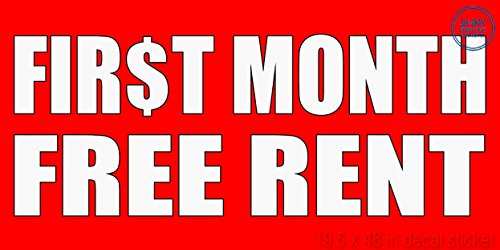 First Month Free Rent With Dollar Icon Style 3 Vinyl Decal Label Sticker Retail Store Sign   Sticks To Any Clean Surface 19 5 X 48 In