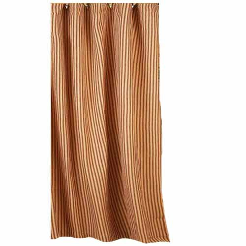 """Home Collection by Raghu York Ticking Barn Red and Nutmeg Shower Curtain, 72 by 72"""""""