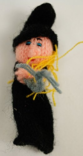 Witch Finger Puppet From Peru Handmade Alpaca Wool
