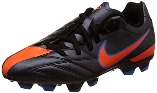 Boy's Nike JR T90 Shoot IV Soccer Cleat Black/Blue Glow/Total Orange Size 6